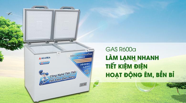tủ đông alaska sử dụng gas r600A