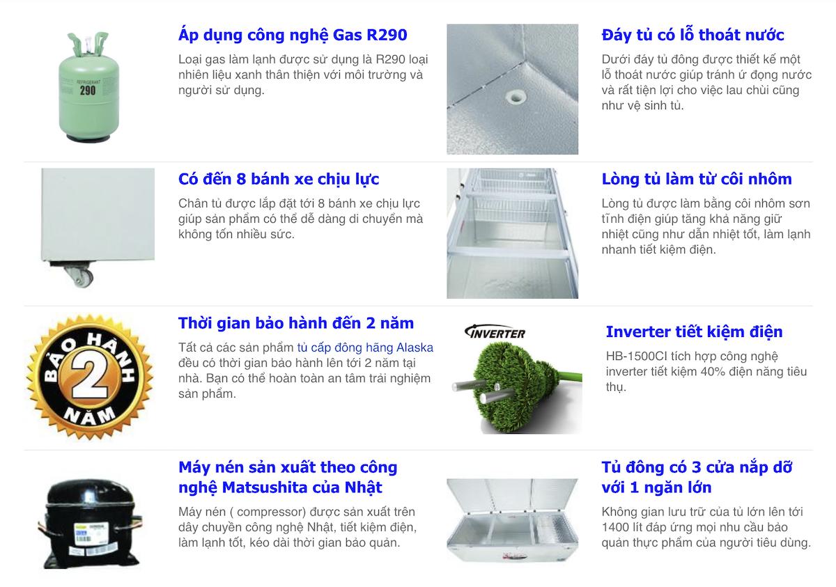 tủ đông alaska HB 1500CI dàn lạnh đồng inverter